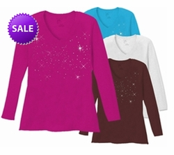 FINAL SALE! Just Reduced!  Starry Night Scatter Rhinestud on Plus Size V Neck / Round Neck Long Sleeve T-Shirt White Teal Raspberry Brown Lime Hot Pink Medium Purple 3x 4x 5x