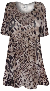 NEW! Semi Sheer Black & Brown Leopard Print Supersize Extra Long Coverup T-Shirts 3x 4x 5x 6x 8x