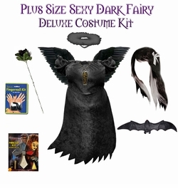 NEW! Sexy Dark Fairy Angel Plus Size & Supersize Halloween Costume and Accessory Kit! Lg to 9x