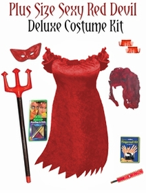 NEW! Sexy Red Devil Plus Size & Supersize Halloween Costume and Accessory Kit! 0x 1x 2x 3x 4x 5x 6x 7x 8x 9x