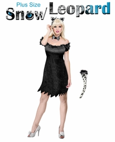 SALE! Sexy Snow Leopard Plus Size & Supersize Halloween Costume / Accessory Kit! Lg XL 1x 2x 3x 4x 5x 6x 7x 8x 9x
