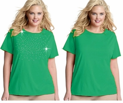 FINAL SALE! Just Reduced! Shamrock Green Round Neck Plus Size T-Shirt 2x 3x