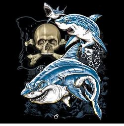 SALE! Sharks and Skull Plus Size & Supersize T-Shirts S M L XL 2x 3x 4x 5x 6x 7x 8x (All Colors)