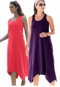 SALE! Sharktail Hem Grape Jam Purple or Ruby Red or Plus Size Tank Dress Coverup 30/32