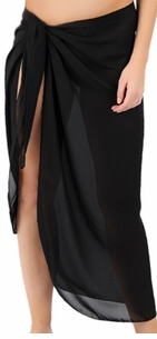 Sheer Black Plus Size Sarong - Plus Size Pareo Coverup - 1x 2x 3x 4x 5x 6x 7x 8x 9x