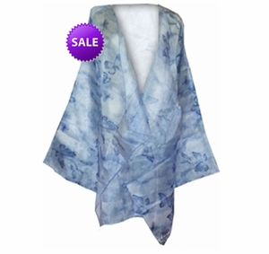 SALE! Sheer Layer Diva Blue Butterfly Chiffon Plus Size Jacket or Coverup 6x