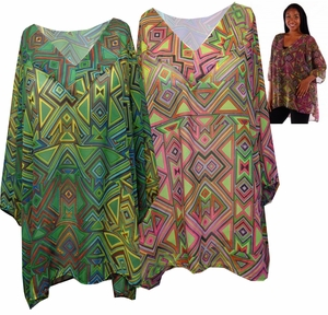 SALE! Sheer Triangle Tribal Magenta or Lime Green V Neck Plus Size Tops 4x 5x 6x