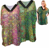SALE! Sheer Triangle Tribal Magenta or Lime Green With Black Trim V Neck Plus Size Tops 4x 5x 6x