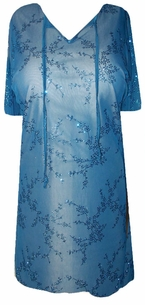 New! Sheer Turquoise Blossoms Swimsuit Cover-Ups or Evening Over-Blouse Plus Size & Supersize 1x