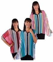 SALE! Sheer Vertical Stripes Button Cardigan Jacket Coral Blue Pink Top Caftan Style Sleeve Plus Size 4x  5x 6x