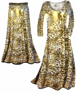 SALE! Customizable Shimmer Gold & Brown Leopard Spots Print Semi Sheer Slinky Print Plus Size & Supersize Short or Long Sleeve Dresses & Tanks - Sizes Lg to 9x