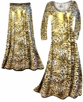 Shimmer Gold & Brown Leopard Spots Print Semi Sheer Customizable Plus Size Swimsuit Cover-ups, Dresses, Shirts, Jackets, Dusters, Skirts Lg to 8x