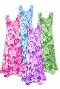 SALE! Shimmering Tie Dye Purple Pink Green or Turquoise Crush Velvet Plus Size & Supersize Princess Cut Tank Dress 1x 2x 3x 4x 5x 6x 7x 8x