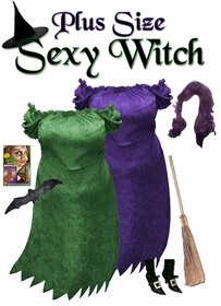 NEW! Short Sexy Witch Plus Size Costume Purple or Green - Available in Plus Size & Supersize Lg XL 0x 1x 2x 3x 4x 5x 6x 7x 8x 9x