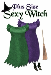 SALE! Short Sexy Witch Plus Size Costume Purple or Green - Available in Plus Size & Supersize Lg XL 1x 2x 3x 4x 5x 6x 7x 8x 9x
