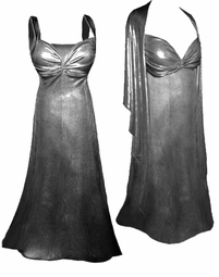 NEW! Silver Metallic 2 Piece Plus Size SuperSize Princess Seam Dress Set  0x 1x 2x 3x 4x 5x 6x 7x 8x