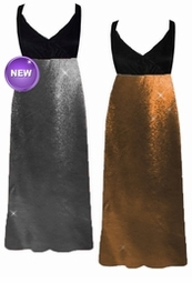 NEW! Silver or Copper Metallic Slinky Plus Size Slinky Black Empire Waist Dress add Matching Wrap 0x 1x 2x 3x 4x 5x 6x 7x 8x