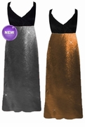 SOLD OUT! SALE! Silver or Copper Metallic Slinky Plus Size Slinky Black Empire Waist Dress with Matching Wrap 4x