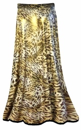 NEW! Skirts! Stunning! Shimmer Gold & Brown Leopard Spots Print Customizable Plus Size & Supersize Sheer Skirts! Lg to 8x