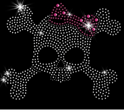 NEW! Skull & Crossbones With Pink Bow Sparkly Rhinestuds Plus Size & Supersize T-Shirts S M L XL 2x 3x 4x 5x 6x 7x 8x 9x (All Colors)