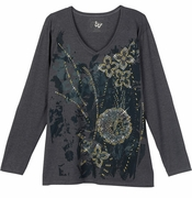SALE! Just Reduced! Slate Grey Poppy Floral Glittery Plus Size Long Sleeve T-Shirt 4x 5x