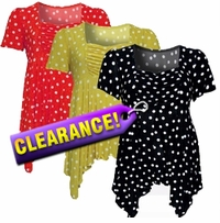 SALE! Slinky Babydoll Plus Size Supersize Tops! Cute Yellow & White Polka Dots! Sizes 4x 5x 6x