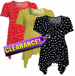 SALE! Slinky Babydoll Plus Size Supersize Tops! Cute Yellow & White Polka Dots! Sizes 4x Yellow