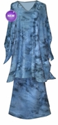 NEW! Slinky Gray Tye Dye V Neck Plus Size 2pc Top and Skirt Set - 4x **Imperfect