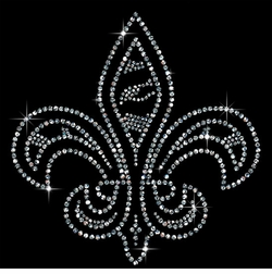 Small Fleur de Lis Sparkly Rhinestuds Plus Size & Supersize T-Shirts S M L XL 2x 3x 4x 5x 6x 7x 8x 9x (All Colors)