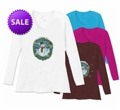 FINAL SALE! Snowman Portrait Snow Wreath on V-Neck Plus Size Long Sleeve T-Shirt 5x - White-Teal-Raspberry-Brown - Christmas!