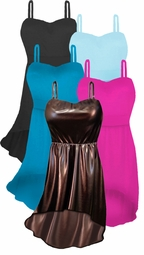 NEW! Customize Solid Color Spandex or Metallic Brown Mocha Plus Size Swimdress 2pc Hi-Lo Cascading Swimwear Black Turquoise Light Blue Hot Pink 0x1x 2x 3x 4x 5x 6x 7x 8x 9x Supersize