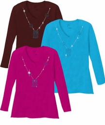SALE! Sparkly Rhinestud Blue & Silver Peace Sign Neckline V Neck/Round Neck Long Sleeve Plus Size Shirt 5x White Teal Raspberry Brown