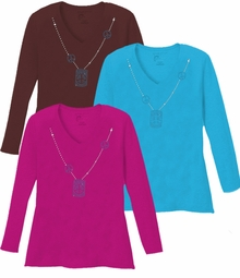 New! Sparkly Rhinestud Blue & Silver Peace Sign Neckline V Neck/Round Neck Long Sleeve Plus Size Shirt 5x White Teal Raspberry Brown