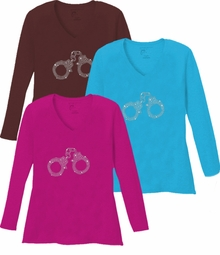 Sparkly Rhinestud Handcuffs V Neck / Round Neck Long Sleeve Plus Size Shirt 5x White Teal Raspberry Brown