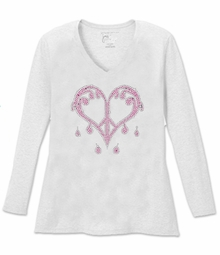 New! Sparkly Rhinestud Pink & Silver Dripping Peace Heart V Neck Long Sleeve Plus Size Shirt 5x White Teal Raspberry Brown