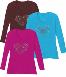 Sparkly Rhinestud Red & Silver Rose Heart Ivy V Neck Long Sleeve Plus Size Shirt 5x White Teal Raspberry Brown Lime Hot Pink Medium Purple