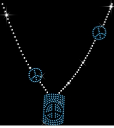 Sparkly Rhinestud Rhinestone Blue & Silver Peace Sign Necklace Neckline Plus Size & Supersize T-Shirts S M L XL 2x 3x 4x 5x 6x 7x 8x 9x (All Colors)