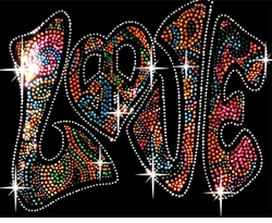 Sparkly Rhinestud Rhinestone Colorful LOVE Plus Size & Supersize T-Shirts S M L XL 2x 3x 4x 5x 6x 7x 8x 9x (All Colors)