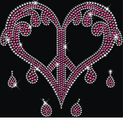 Sparkly Rhinestud Rhinestone Pink & Silver Dripping Peace Heart Plus Size & Supersize T-Shirts S M L XL 2x 3x 4x 5x 6x 7x 8x 9x (All Colors)