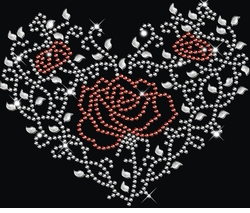 New! Sparkly Rhinestud Rhinestone Red & Silver Rose Heart Ivy Plus Size & Supersize T-Shirts S M L XL 2x 3x 4x 5x 6x 7x 8x 9x (All Colors)