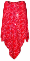 SOLD OUT! SALE! Sparkly Silver and Red Glitter Dots & Lines Slinky Plus Size Supersize Poncho