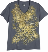 FINAL SALE! Just Reduced! Stone Gray With Golden Floral Print Glittery Plus Size T-Shirt 4x
