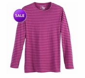 FINAL SALE! Just Reduced! Raspberry Striped Long Sleeve Round Neck T-Shirts Plus Size & Add Rhinestuds 4x