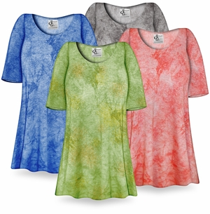NEW! Customizable Ribbed Tie Dye Print Plus Size & Supersize Extra Long T-Shirts 0x to 9x!