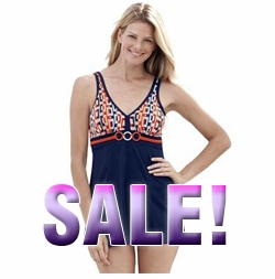 FINAL SALE! One-Piece Swimdress Swimsuit O Print-Blue/Orange 32W 34W