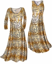 Customizable Tan With Gold Metallic Little Leopard Spots Horizontal Slinky Print Plus Size & Supersize Standard or Cascading A-Line or Princess Cut Dresses & Shirts, Jackets, Pants, Palazzo's or Skirts Lg to 9x