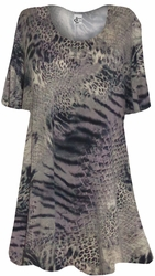 NEW! Taupe Reptile Animal Print Supersize Extra Long T-Shirts 3x 4x 5x 6x 8x