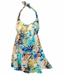 Sale! Teal Aloha Tropical Print Plus Size Halter SwimDress Swimwear 2pc Swimsuit 2x
