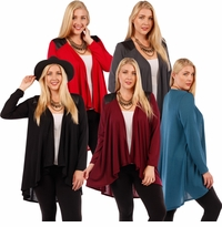 SALE! Open Style Cardigan Jacket with Perforated Vegan Leather Shoulder Accents Plus Size 4x 5x 6x
