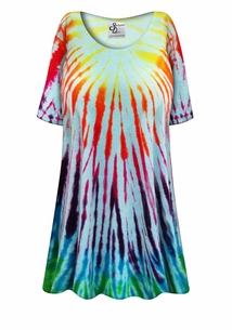 NEW! Terry Fabric Tie Dye Plus Size & Supersize X-Long A-Line Swim Coverup 0x to 8x